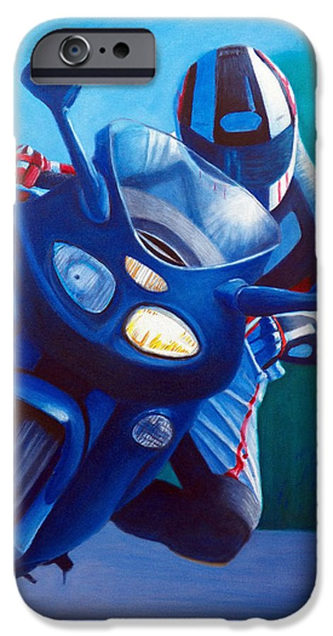 Motorcycle IPhone 6 Case featuring the painting Triumph Sprint - Franklin Canyon by Brian Commerford