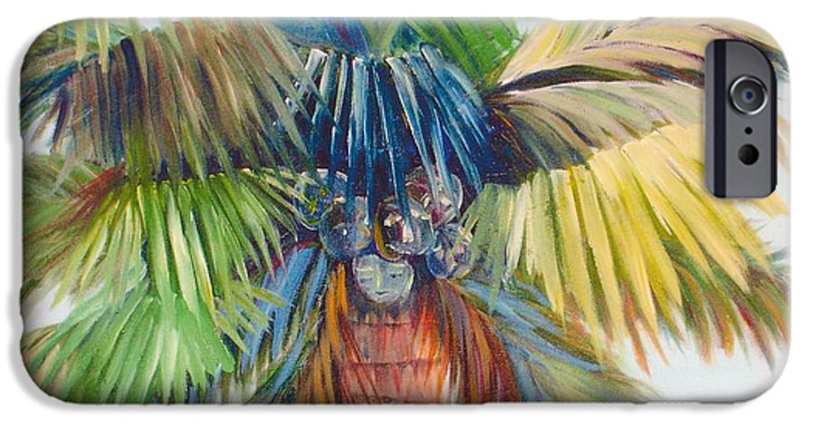 Palm IPhone 6 Case featuring the painting Tropical Palm Inn by Susan Kubes