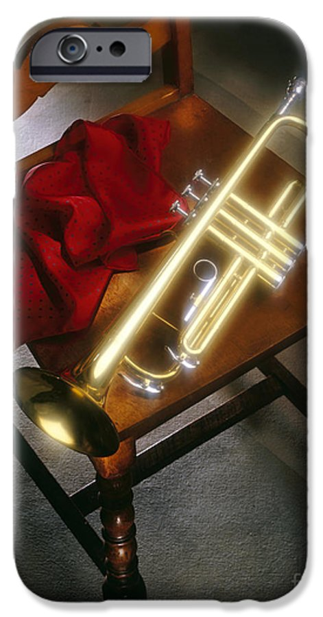 Trumpet IPhone 6 Case featuring the photograph Trumpet On Chair by Tony Cordoza