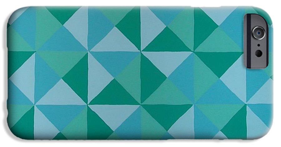 Triangles IPhone 6 Case featuring the painting Trying Any Angle by Gay Dallek