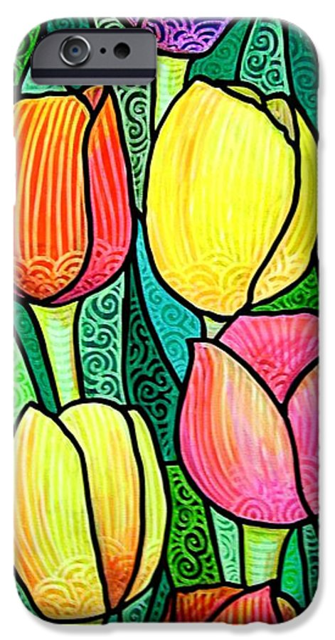 Tulips IPhone 6 Case featuring the painting Tulip Expo by Jim Harris