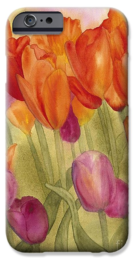 Tulips IPhone 6 Case featuring the painting Tulip Glory by Louise Magno