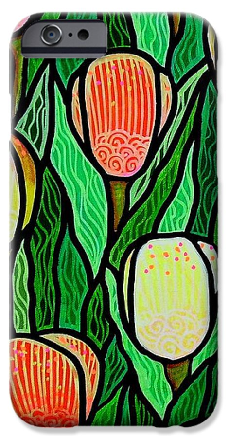 Tulips IPhone 6 Case featuring the painting Tulip Joy 2 by Jim Harris