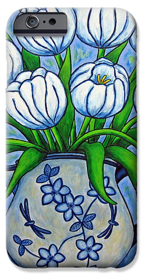 Flower IPhone 6 Case featuring the painting Tulip Tranquility by Lisa Lorenz