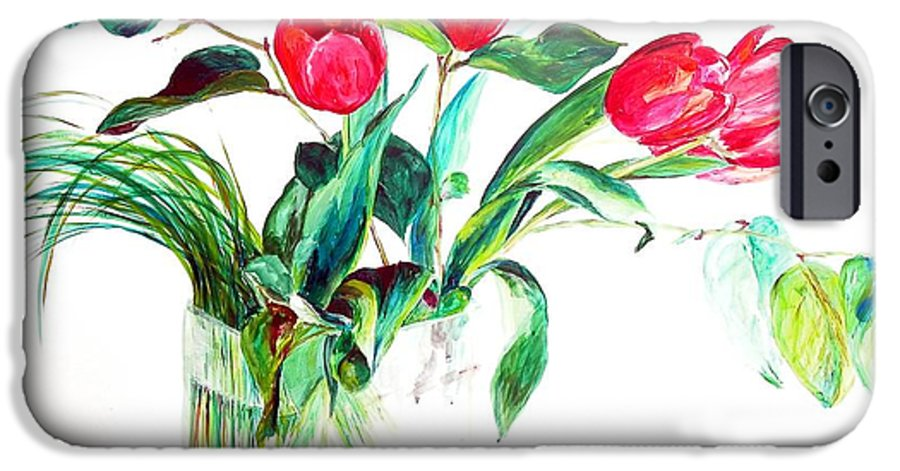 Flower IPhone 6 Case featuring the painting Tulipes by Muriel Dolemieux