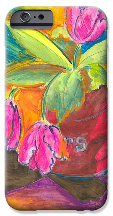 Flowers IPhone 6 Case featuring the painting Tulips In Can by Jean Blackmer
