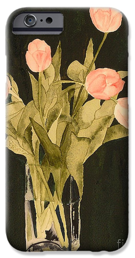 Tulips IPhone 6 Case featuring the painting Tulips On Velvet by Louise Magno