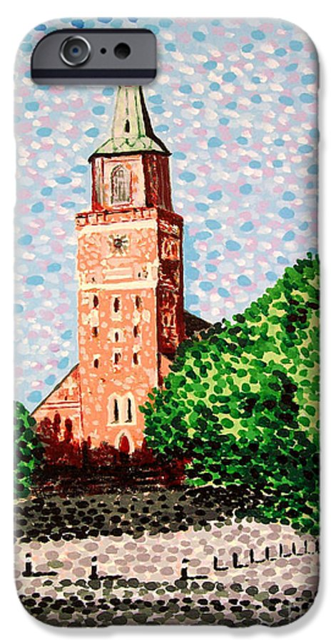Finnish IPhone 6 Case featuring the painting Turku Cathedral by Alan Hogan