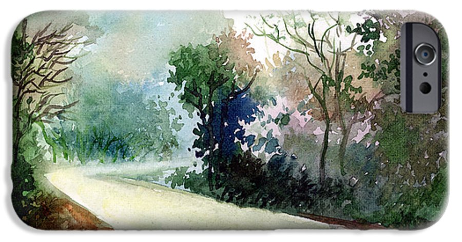 Landscape Water Color Nature Greenery Light Pathway IPhone 6 Case featuring the painting Turn Right by Anil Nene