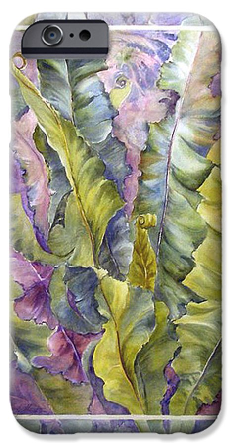Ferns;floral; IPhone 6 Case featuring the painting Turns Of Ferns by Lois Mountz