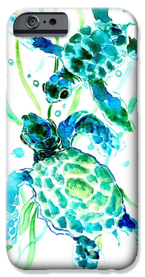 Sea Turtle IPhone 6 Case featuring the painting Turquoise Indigo Sea Turtles by Suren Nersisyan