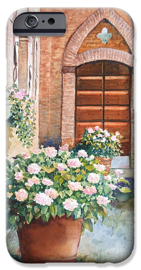 Tuscan IPhone 6 Case featuring the painting Tuscan Courtyard by Ann Cockerill