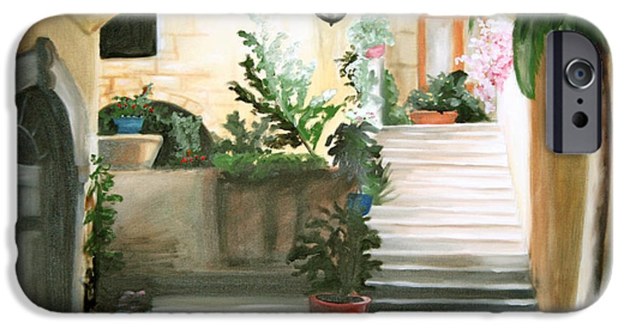 Portrait IPhone 6 Case featuring the painting Tuscan Courtyard Detail by Maryn Crawford