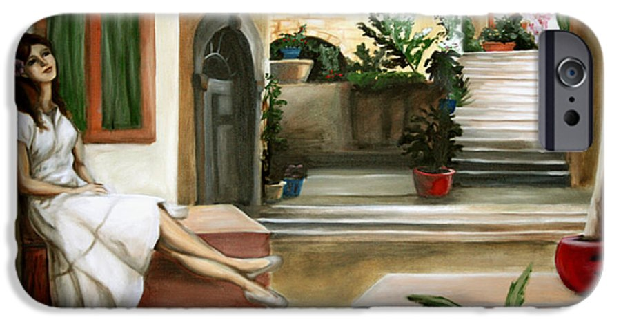 Portrait IPhone 6 Case featuring the painting Tuscan Courtyard by Maryn Crawford