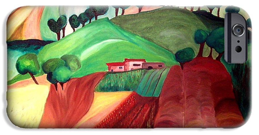 Abstract IPhone 6 Case featuring the painting Tuscan Landscape by Patricia Arroyo