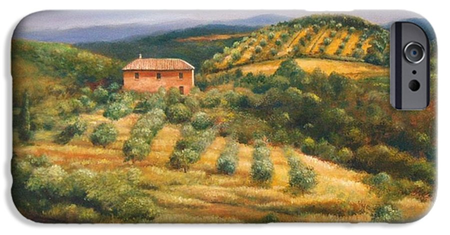 Landscape IPhone 6 Case featuring the painting Tuscan Summer by Ann Cockerill
