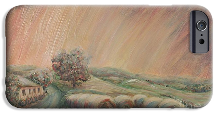 Landscape IPhone 6 Case featuring the painting Tuscany Hayfields by Nadine Rippelmeyer