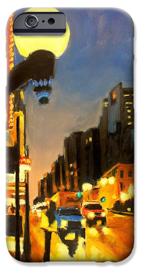 Rob Reeves IPhone 6 Case featuring the painting Twilight In Chicago - The Watcher by Robert Reeves