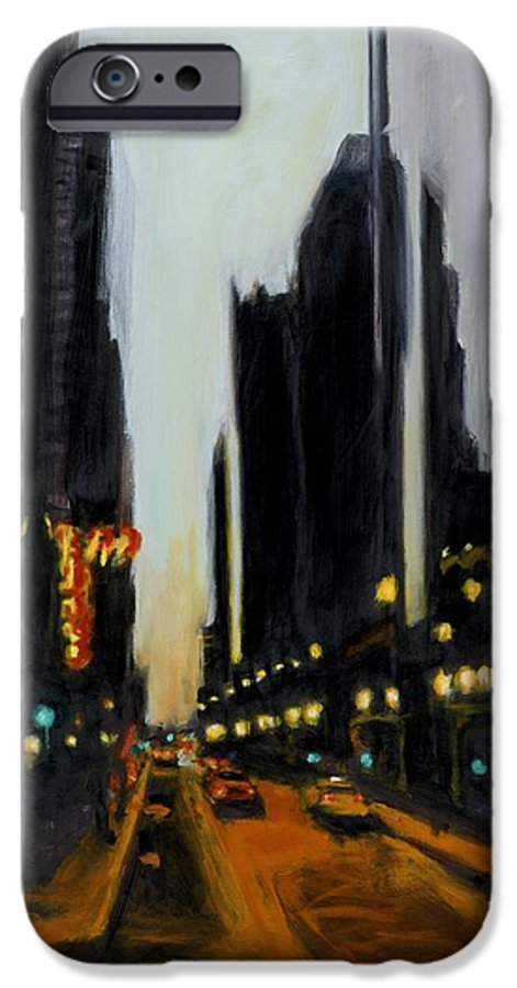 Rob Reeves IPhone 6 Case featuring the painting Twilight In Chicago by Robert Reeves