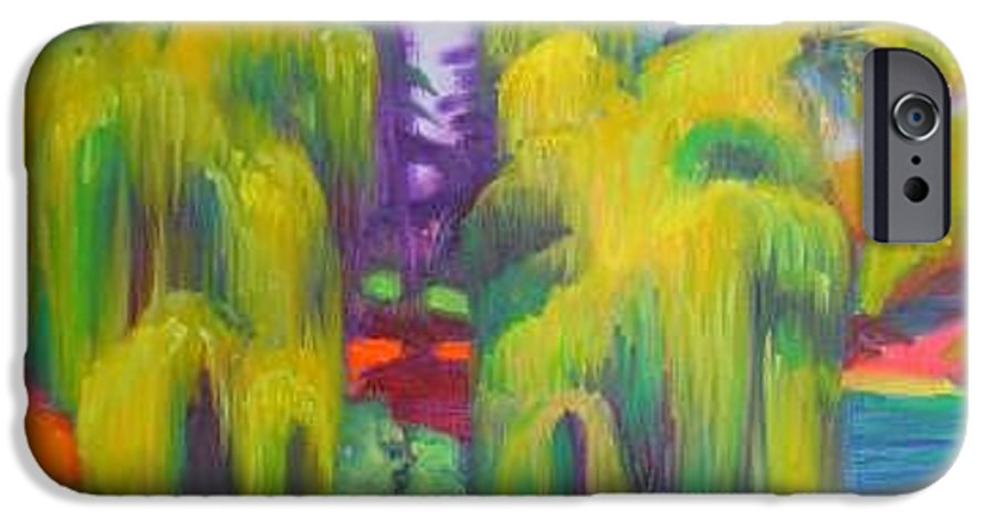 Landscape IPhone 6 Case featuring the painting Twin Willows Chicago Botanical Gardens by David Dozier