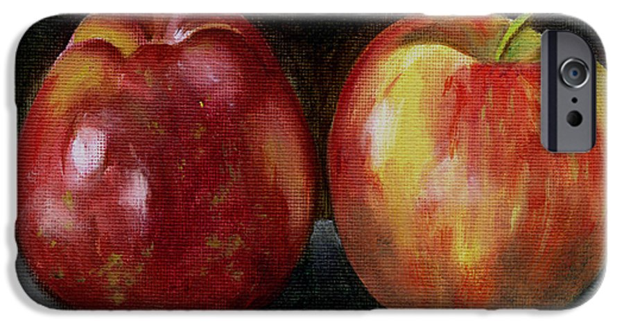 Oil IPhone 6 Case featuring the painting Two Apples by Sarah Lynch