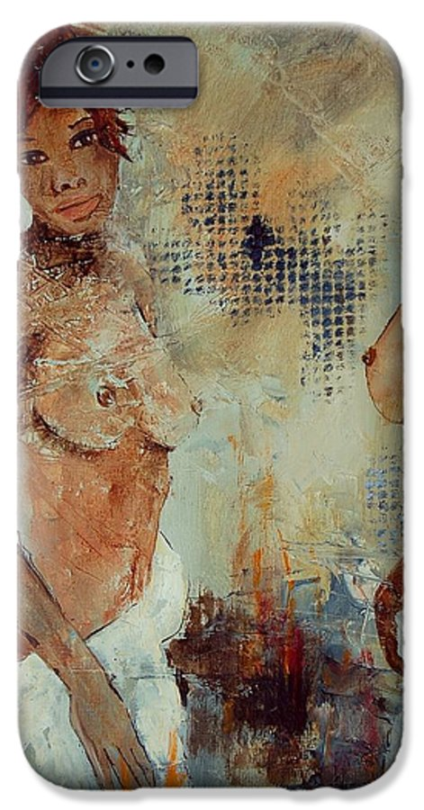 Girl Nude IPhone 6 Case featuring the painting Two Black Sisters by Pol Ledent