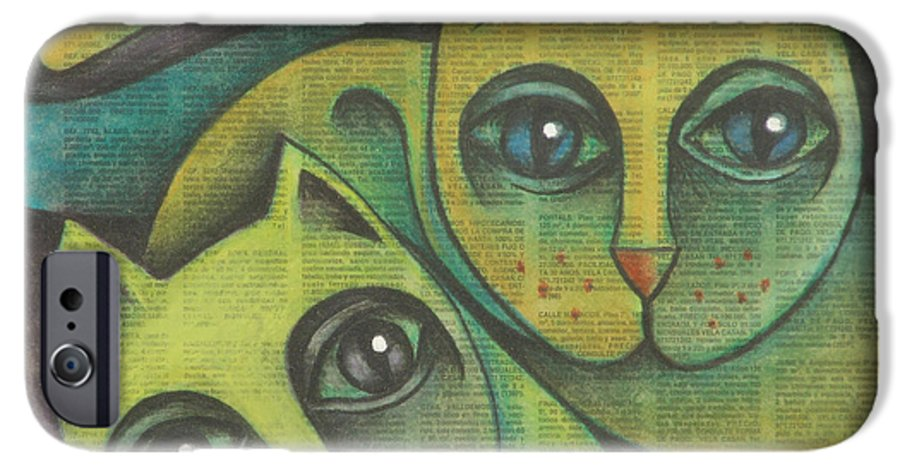 Sacha Circulism Circulismo IPhone 6 Case featuring the drawing Two Cats 2000 by S A C H A - Circulism Technique