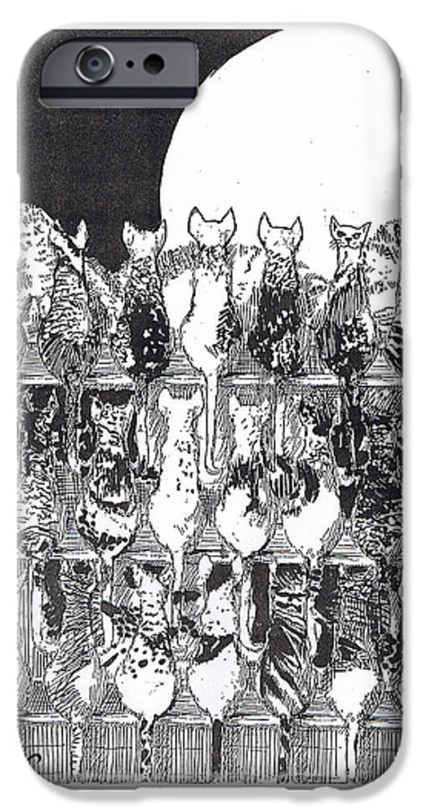 Cats IPhone 6 Case featuring the drawing Two Dozen And One Cats by Seth Weaver