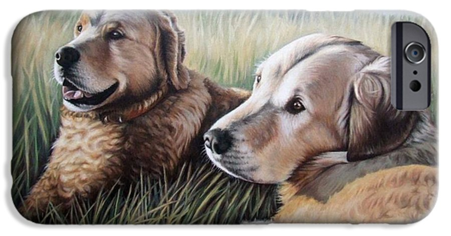 Dogs IPhone 6 Case featuring the painting Two Golden Retriever by Nicole Zeug