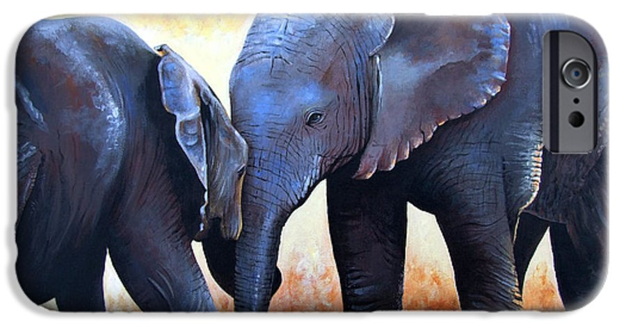 Elephants IPhone 6 Case featuring the painting Two Little Elephants by Paul Dene Marlor