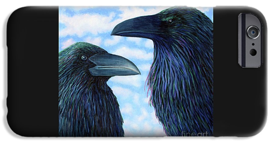 Raven IPhone 6 Case featuring the painting Two Ravens by Brian Commerford