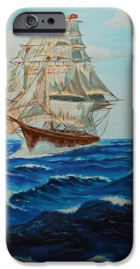 Ship IPhone 6 Case featuring the painting Two Ships Sailing by Quwatha Valentine