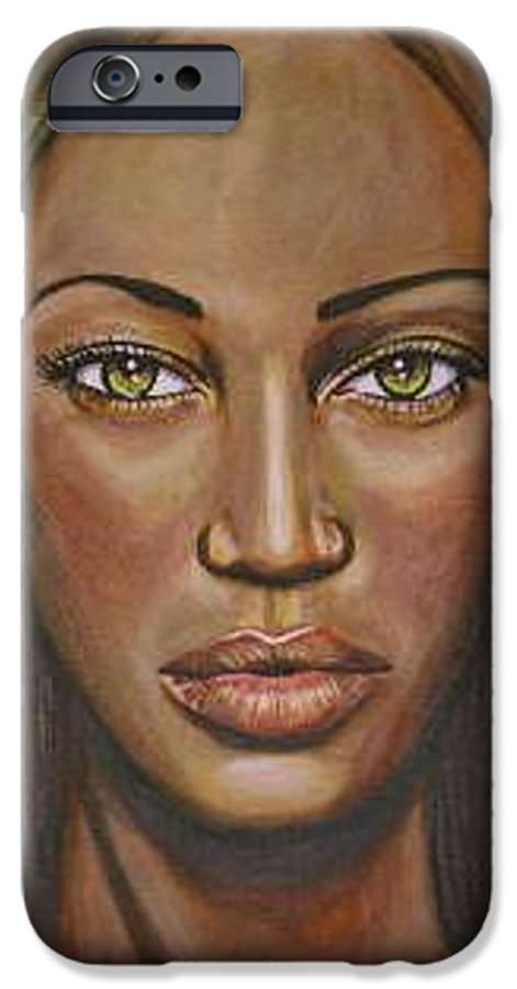 Woman IPhone 6 Case featuring the painting Tyra by Sarah-Lynn Brown