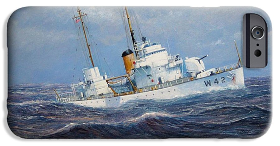 Marine Art IPhone 6 Case featuring the painting U. S. Coast Guard Cutter Sebago Takes A Roll by William H RaVell III