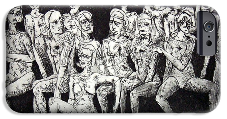 Etching IPhone 6 Case featuring the print Ugly Girls by Thomas Valentine