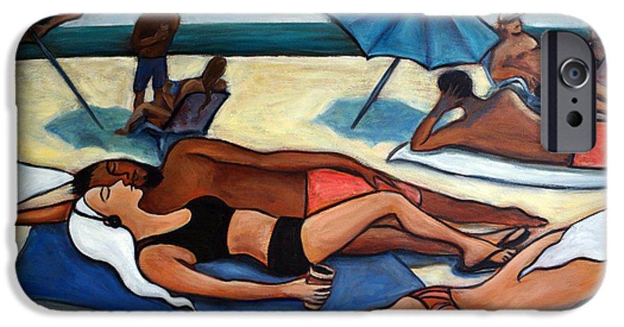 Beach Scene IPhone 6 Case featuring the painting Un Journee A La Plage by Valerie Vescovi