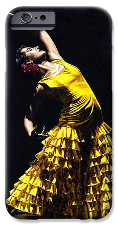 Flamenco IPhone 6 Case featuring the painting Un Momento Intenso Del Flamenco by Richard Young