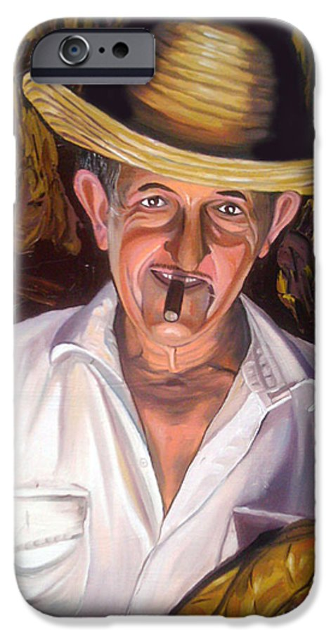 Cuban Art IPhone 6 Case featuring the painting Uncle Frank by Jose Manuel Abraham