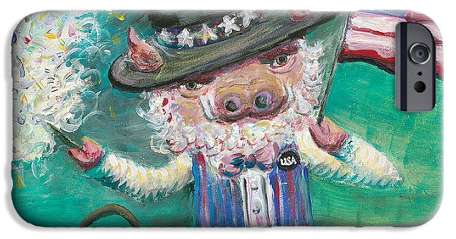 Fourth Of July IPhone 6 Case featuring the painting Uncle Spam by Nadine Rippelmeyer