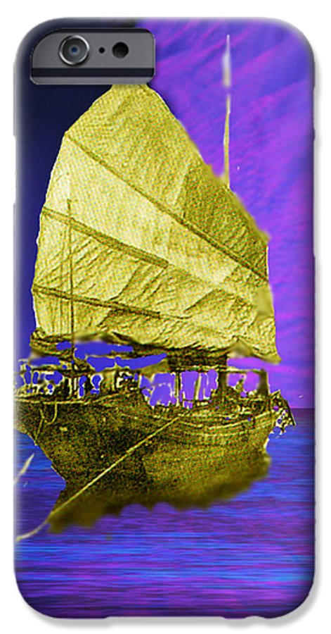 Nautical IPhone 6 Case featuring the digital art Under Golden Sails by Seth Weaver