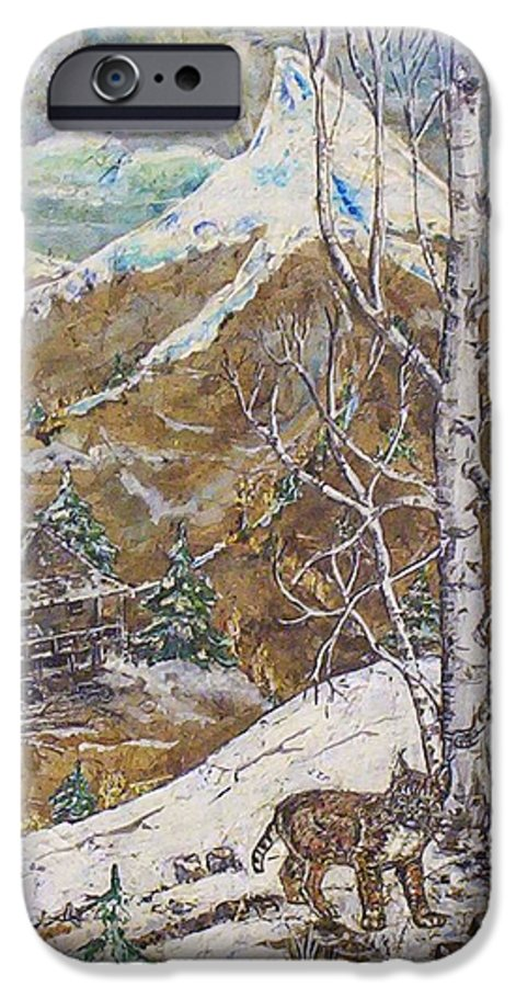 Snow Scene IPhone 6 Case featuring the painting Unexpected Guest I by Phyllis Mae Richardson Fisher
