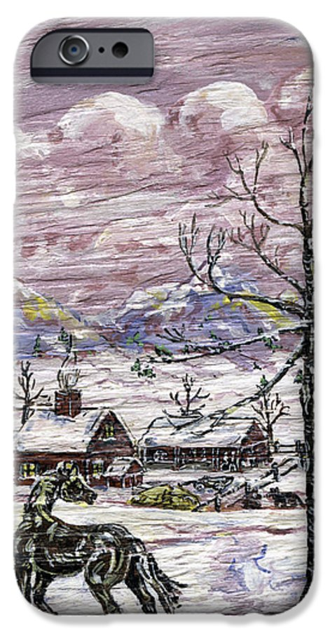 Snow Scene IPhone 6 Case featuring the painting Unexpected Guest II by Phyllis Mae Richardson Fisher