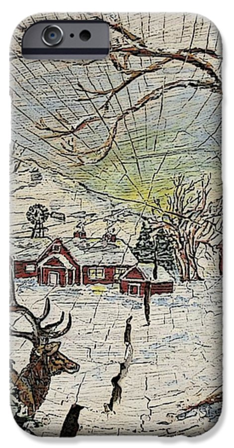 Elk IPhone 6 Case featuring the painting Unexpected Guest IIi by Phyllis Mae Richardson Fisher