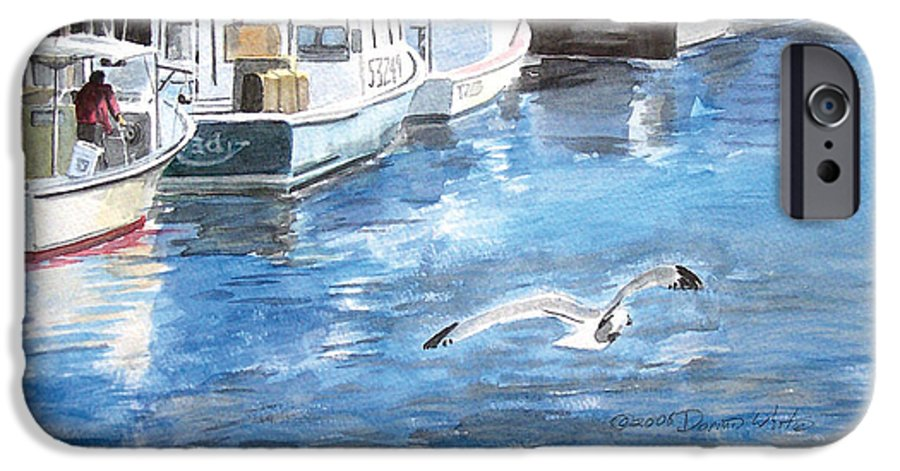 Seagull IPhone 6 Case featuring the painting Union Wharf by Dominic White
