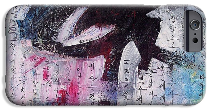 Peom Paintings Paintings IPhone 6 Case featuring the painting Unread Poem Black And White Paintings by Seon-Jeong Kim