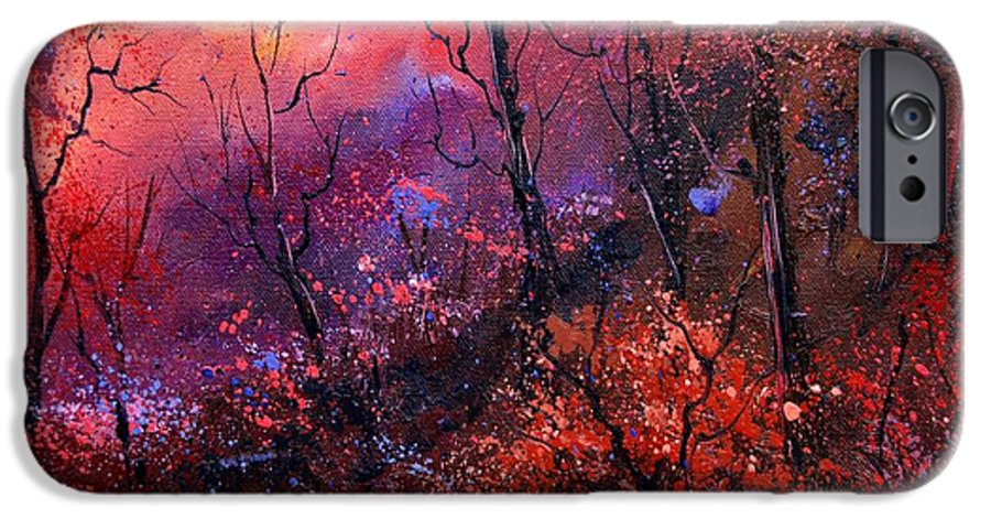 Wood Sunset Tree IPhone 6 Case featuring the painting Unset In The Wood by Pol Ledent