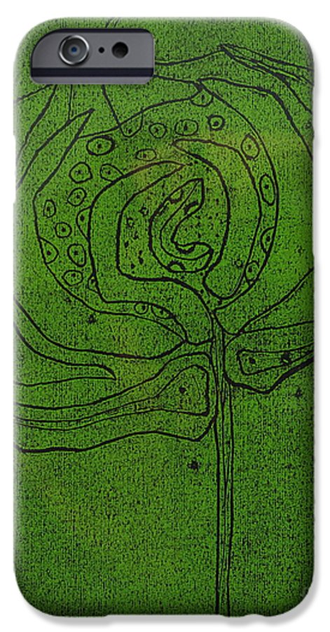 Green IPhone 6 Case featuring the painting Untitled by Angela Dickerson