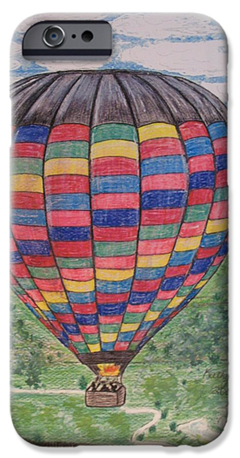 Balloon Ride IPhone 6 Case featuring the painting Up Up And Away by Kathy Marrs Chandler