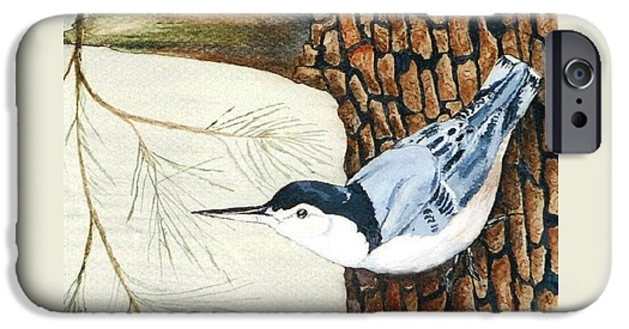 Nuthatch IPhone 6 Case featuring the painting Upside Down by Debra Sandstrom