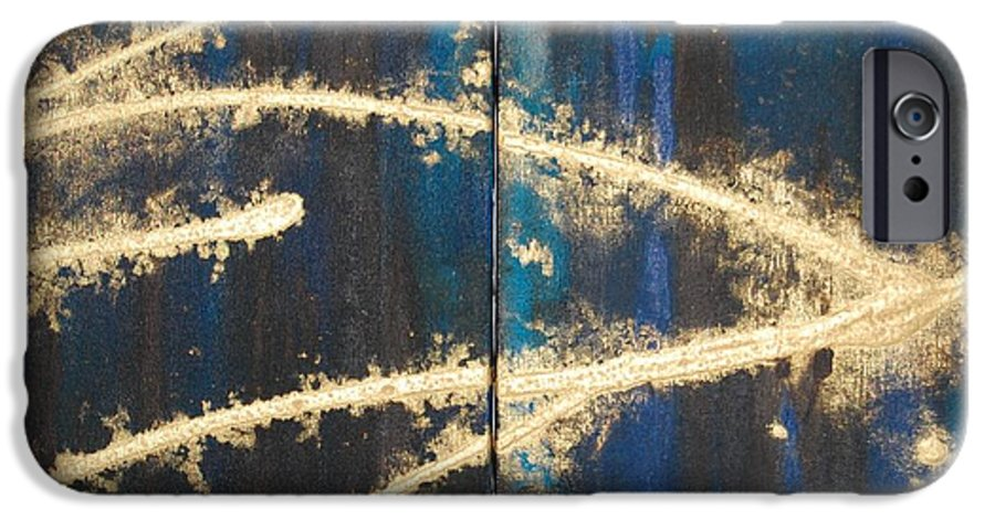 Night IPhone 6 Case featuring the painting Urban Nightscape by Lauren Luna